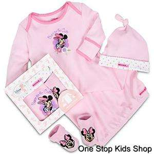 MINNIE MOUSE Disney BABY LAYETTE SET Infant GOWN Sleeper Pajamas SOCKS