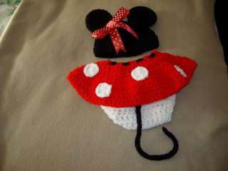 BABY MINNIE MOUSE HAT/DIAPER SET CROCHET PHOTO PROP ♥