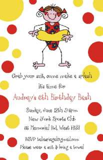 Girl in Float POOL PARTY INVITATION Swim Beach Birthday