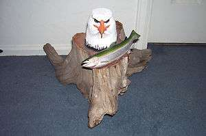 Bald Eagle & Fish Wood Carving Art Red Cedar Sculpture