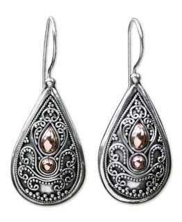 BALI ANTIQUE Sterling SILVER Earrings w18k GOLD ACCENTS