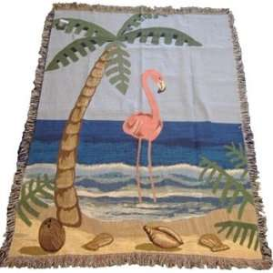 Pink Flamingo Tapestry Woven Throw Blanket   Palm Tree