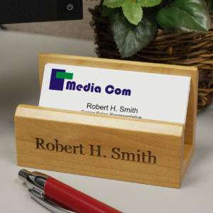 Engraved Wood Business Card Holder Personalized FREE