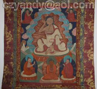 name wonderful old tibetan buddhist hand painted thangka milarepa high