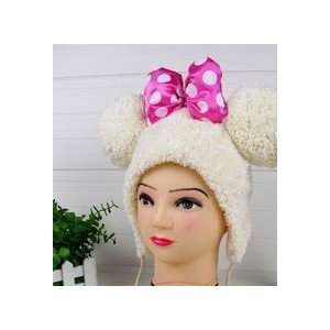 Cute Cream Fleece Mouse Hat with Pom Poms (Pink Bow) Toys & Games