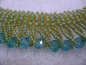 Beaded Beadwork Collar Choker Sea Green Glass Seed Beads Necklace