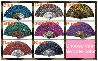 Beautiful Black Lace Bead embroidery hand fans multicolour Folding