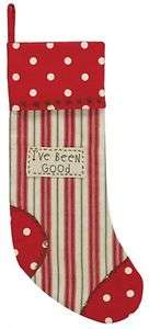 Christmas Stocking   Holly Dots Been Good Pattern   Park Designs