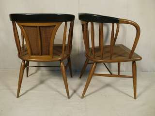 Pair Mid Century Modern Walnut/Cane/Leather Armchairs (0129)r.