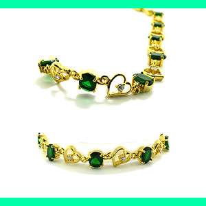 CHARMING Green Emerald White Gold GP Tennis Bracelet Lady Fashion