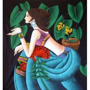 Chinese Art Hand Batik Tapestry Flower Girl Wall Decor