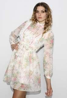 White Hippie FLORAL Lace Bib Prairie Festival BOHO Mini Dress S