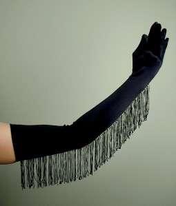 OPERA LONG Length Stretch SATIN Gloves w/ FRINGE BLACK
