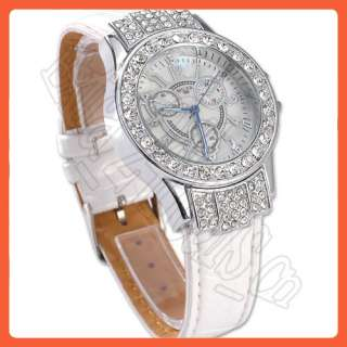 NEW BLING CRYSTAL STONE WOMENS WHITE QUARTZ WATCH HOT