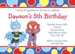 Superhero Boys Birthday Invitations