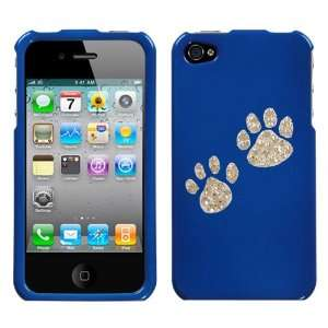 Blue and White Crystal Rhinestone Bling Bling Animal Dog Paw Prints