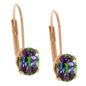 Shape Green Mystic Topaz Rose Gold Plated Brass Stud Earrings Jewelry