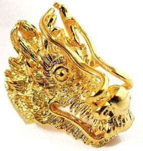 BIG CHINESE LUCKY DRAGON AMULET GOLD MENS RING Sz 9.5