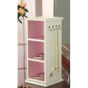 Jewelry Tower with Mirror in White Finish