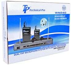 Technical Pro WM240 VHF Wireless Microphone System+2 Headset Mic