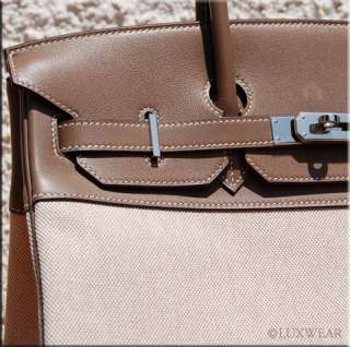 Etoupe/Toile & Palladium 35cm HERMES BIRKIN BAG