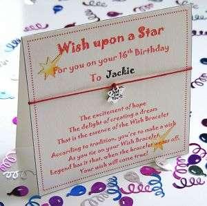 Personalised 50th Birthday Wish Bracelet Gift Card
