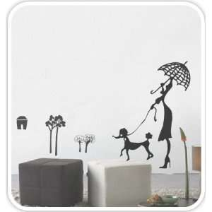 Woman Walking the Dog   Loft 520 Home Decor Vinyl Mural Art Wall Paper