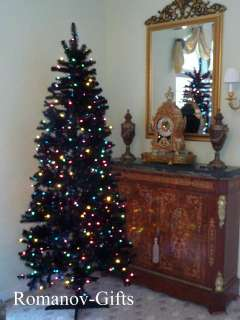 Art Deco Retro Style BLACK Slim Alaska Christmas Tree 7 Foot Pre lit
