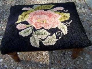Vintage Carved Walnut Foot Stool Needlepoint Antique Primitives