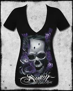 DISTORTION BLACK PURPLE SKULL ROSE TATTOO V NECK TEE T SHIRT TOP