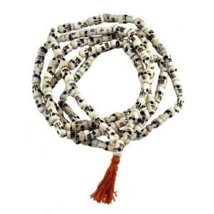 Tibetan Yak Bone 108 Beads Skull Mala Prayer Beads Necklace, Skull