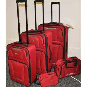 II TAG 5 Piece Upright Red Luggage Set Travel Bags