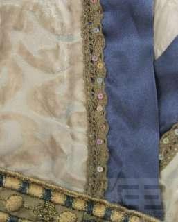 Hale Bob Tan Velvet And Blue Silk Dress Size Small NEW