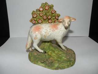 ANTIQUE SHEEP PEARLWARE STAFFORDSHIRE BOCAGE FIGURINE