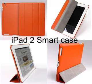 Orange Leather Smart Case Cover with Stand For iPad 2