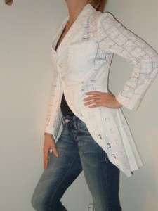 COMME des GARCONS white lace tailed jacket $1500 NEW S