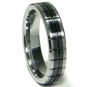Black Tungsten Carbide 5mm Groove Wedding Band Ring Sz 8.5