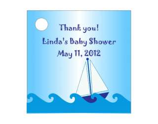 Boy Sailboat Baby Shower Favors Gift Tags Square Personalized