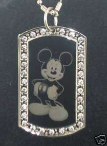 MICKEY MOUSE Disney CZ Dog Tag Pendant Necklace