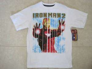 MARVEL BOYS WHITE IRON MAN 2 T SHIRT ALL SIZES NWT
