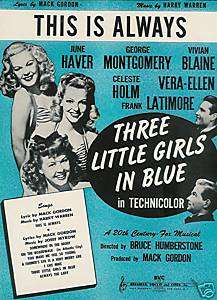 THREE LITTLE GIRLS IN BLUE   1946 SHEET MUSIC