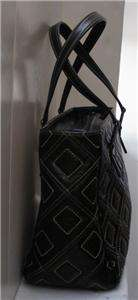 SUAREZ NY MADE IN ITALY BLACK LEATHER SATCHEL HANDBAG PURSE
