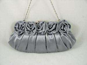 Silver Gray Roses Pleated Wedding Clutch Rhinestones