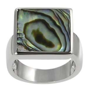 Silvertone Square shaped Abalone Ring Jewelry