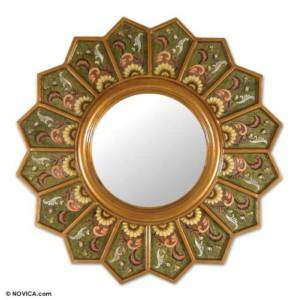 SUNFLOWER~~Reverse Painted Glass Mirror~~Andes Art