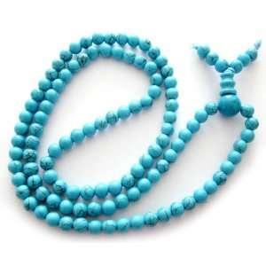 108 Howlite Turquoise Beads Tibetan Buddhist Prayer Japa Mala Jewelry