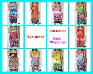 Smocked Sundress Beach Cover Up One Size S,M,L,XL Womens Summer Floral