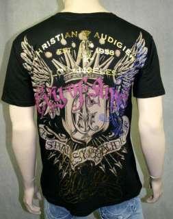 Christian Audigier Bullet Head CALIFAS NATIVE T shirt L punk