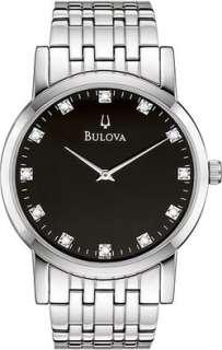 Elegant New Bulova 96D106 Mens Stainless Steel Black Dial Diamond
