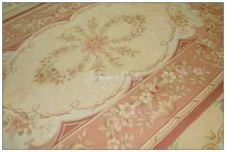 5X8 FADED ANTIQUE PINK Aubusson Area Rug ROSE FRENCH FLORAL Wool Woven